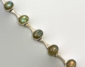 Labradorite Bracelet Vintage Bracelet Linked Links Sterling Silver