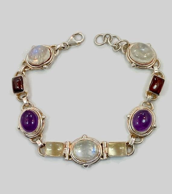 Bezel Silver Bracelet,adjustable bracelet Silver Gemstone Bangle Amethyst Garnet Labradorite Gemstone Bracelet Silver Bracelet