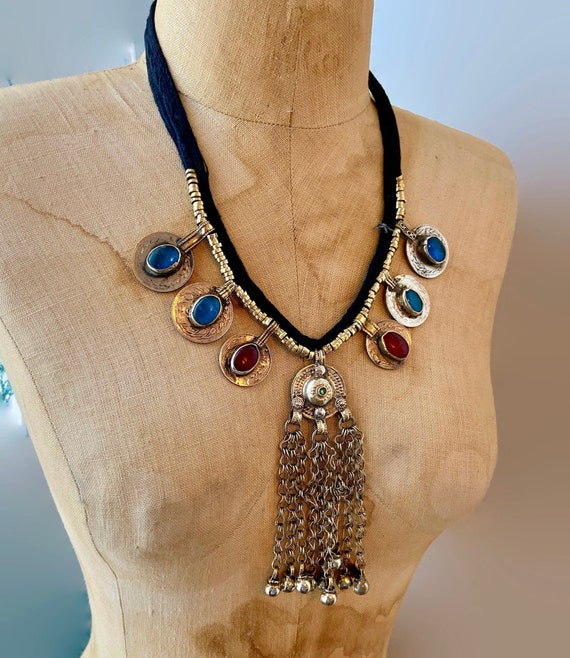 Middle Eastern Silver Coin Pendant Necklace with Cherry Amber Bakelite Beads Yemen Afgan Berber Tribal Gypsy