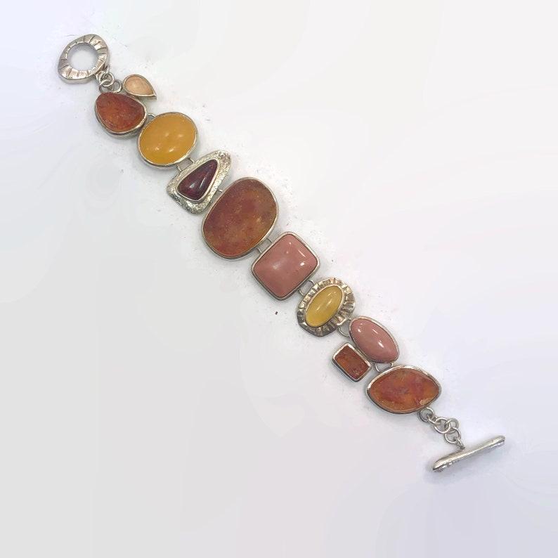 WK Designer Whitney Kelly Sterling Silver Vintage Bracelet Browns Modern Stone Bracelet