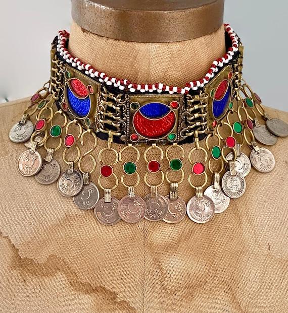 Vintage Necklace Turkmen Arm Band Gypsy Kuchi Nomadic Coin Necklace Choker Middle Eastern Boho Afghan