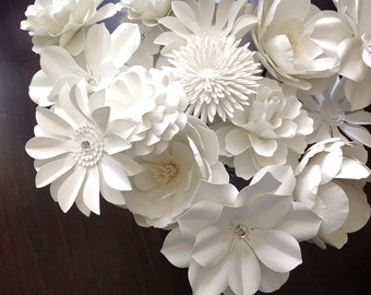 White Paper flowers set of 12 stems