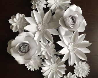 Large Paper flowers - Flower back drop - wedding flowers set of 12