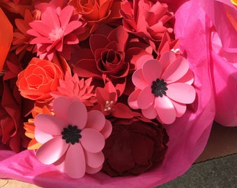 Paper flowers mixed set of 12 stems any colour