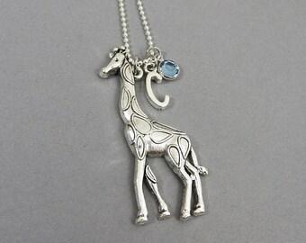 Giraffe Necklace - Personalized Initial Name, Customized Swarovski crystal birthstone