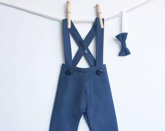 Boys Suspender Pants • Ring Bearer Pants • Navy Blue Dress Pants • Summer Wedding Outfit • Boys Wedding Clothes •  Toddler Boy Pants