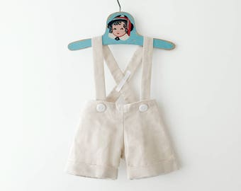 Natural Linen Baby Boy Shortalls, Boys Suspender Shorts, Baby Shortalls, Ringbearer Clothes, Ringbearer Outfit, Linen Baby Clothes