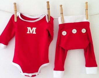 Handmade Red Baby Monogram Pajamas, Xmas Pajamas, Monogrammed Pajamas, Holiday Pajamas, Monogrammed Gifts, Custom Personalized PJs
