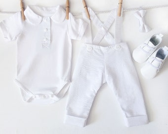 7a5033430 Boy Baptism Outfit, Baby Boys Christening Outfit, Bapteme Garcon, Baptism  Clothes for Boys, Dedication Outfit, White Seersucker