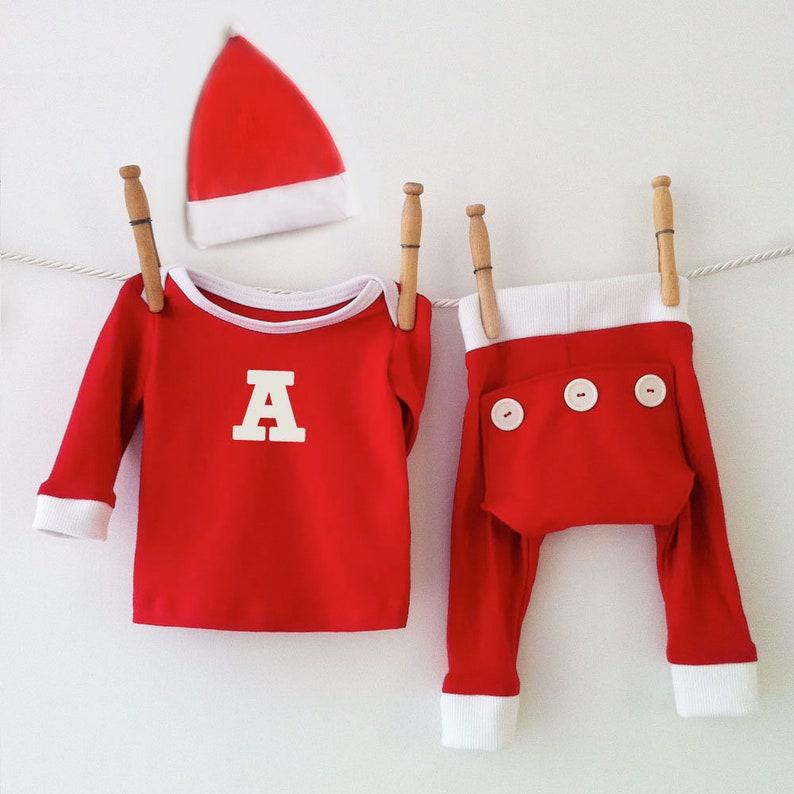 Handmade Red Monogram Christmas Pajamas Personalized PJs  42b3841e9