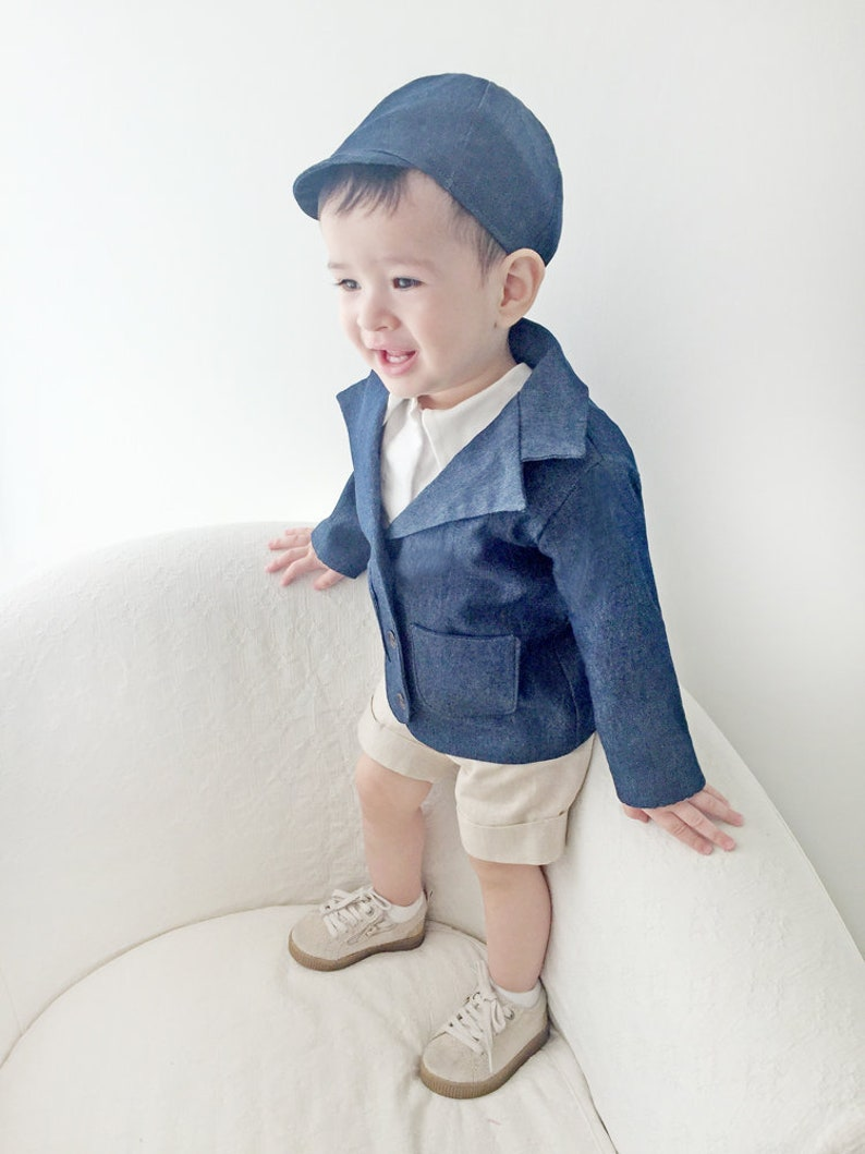 d675a511e41b2 Baby Boy Denim Linen Outfit, Toddler Boy Blazer, Baby Blazer, Baby Boy  Corduroy Outfit, Boys Hat, Baby Jacket, Spring Baby Outfit, Wedding
