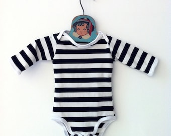 Black and White Striped Bodysuit • Unisex Baby Clothing • Striped Newborn One Piece • Unique Hip Baby Clothes • Cute Gender Neutral Baby