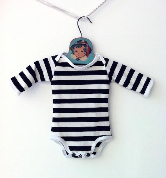 Handmade Black and White Striped Onesie Striped Bodysuit  7a0478c0a