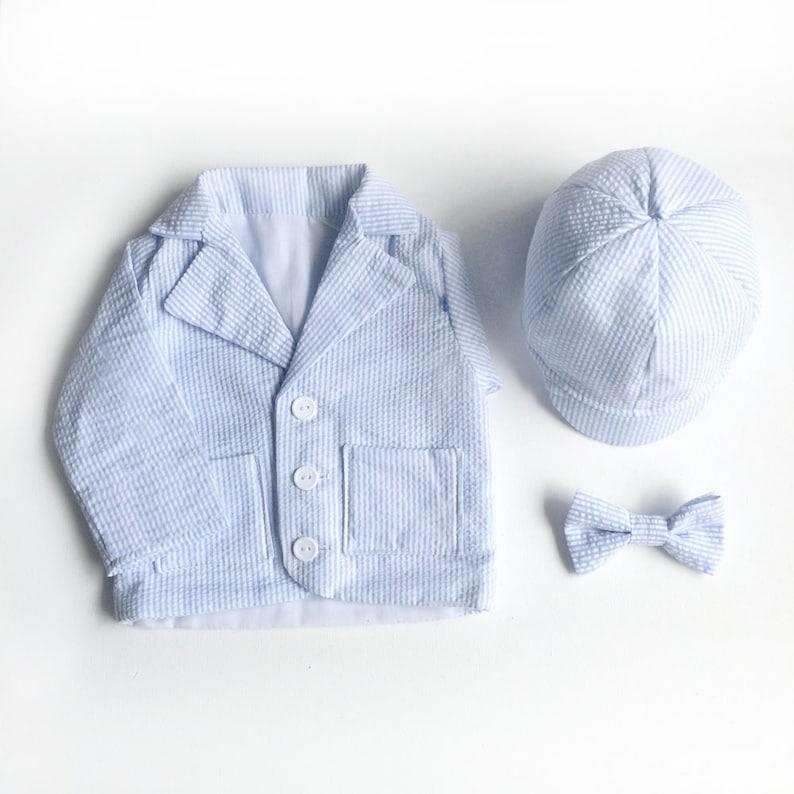 37a6cd30b Baby Boy Blue Seersucker Blazer Set Toddler Boy Blazer Baby