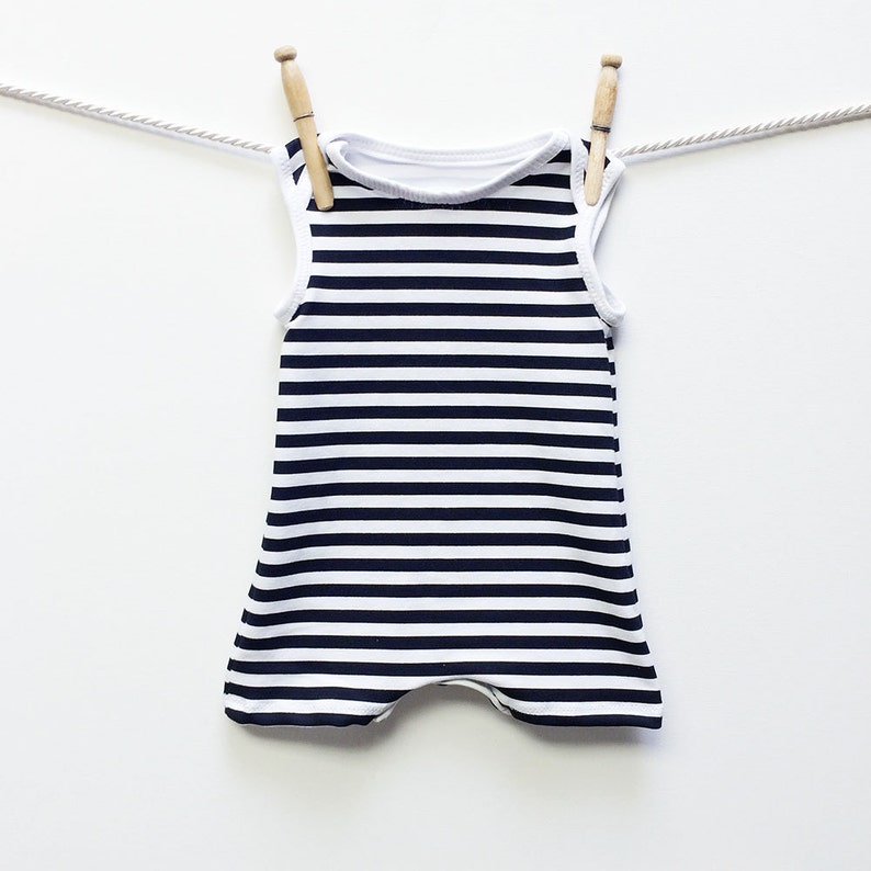 13ac1fac1492 Retro Black and White Striped Baby Swimsuit Baby Boy