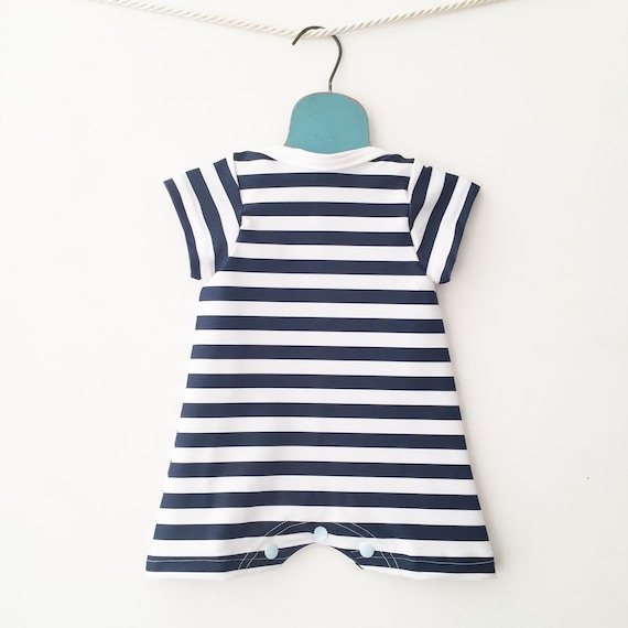 6598753015b75 Baby Bathing Suit Navy Blue Stripes Sleeveless One Piece | Etsy
