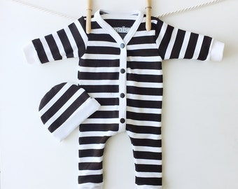 Baby Prisoner Costume, Halloween Outfit, My First Halloween, Black White Striped Baby Sleeper Set, Striped One Piece, Last Minute Costume