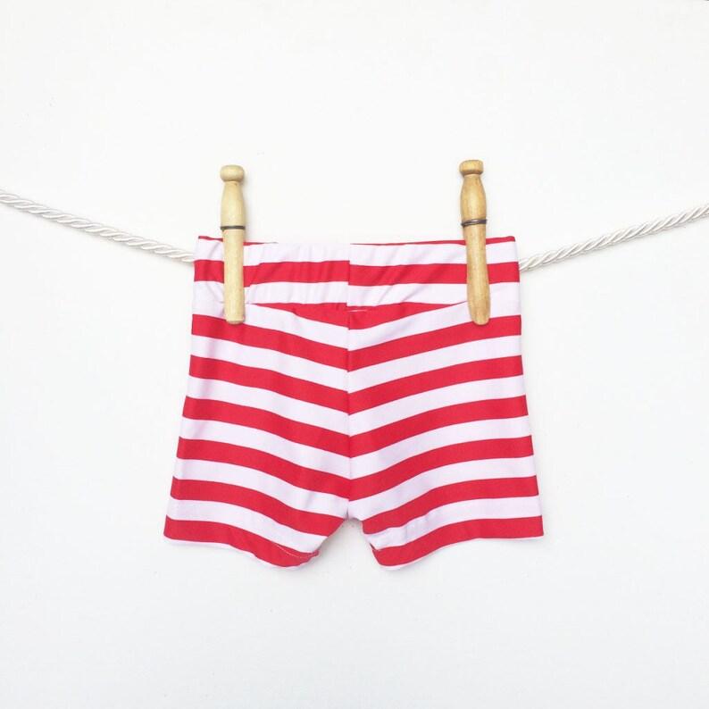 5706e3169509e Red and White Stripe Baby Swim Trunks Boys Swimwear Baby | Etsy