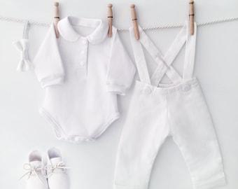 White Linen Baptism Outfit, Linen Baptism Suit, Baby Blessing Outfit, Baby Linen Outfit, Toddler Linen Suit, Christening Outfit