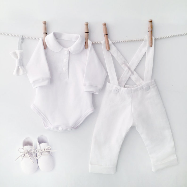 c49671c0396 White Linen Baptism Outfit Linen Baptism Suit Baby Blessing