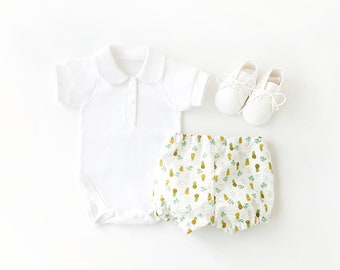 Summer Baby Clothes • Hawaiian Baby Pineapple Diaper Covers Set • Tropical Baby Shower • Baby Girls Bloomers Set • Pineapple Baby Boys Gift