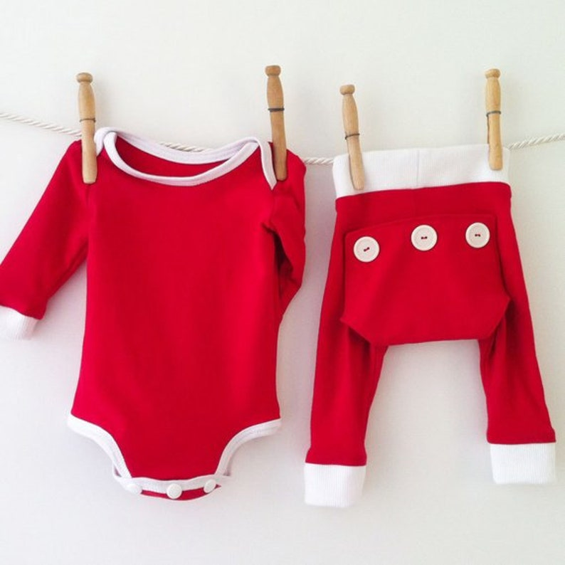 a152d77e32f Handmade First Christmas PJs Red Baby Clothes Outfit Holiday