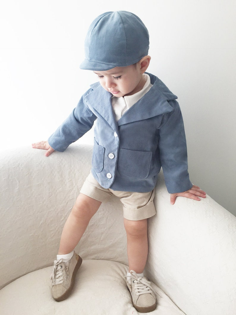 5376c598c2839 Baby Boy Blue Corduroy Outfit, Toddler Boy Blazer, Baby Blazer, Baby Boy  Corduroy Outfit, Boys Hat, Baby Jacket, Spring Baby Outfit, Wedding