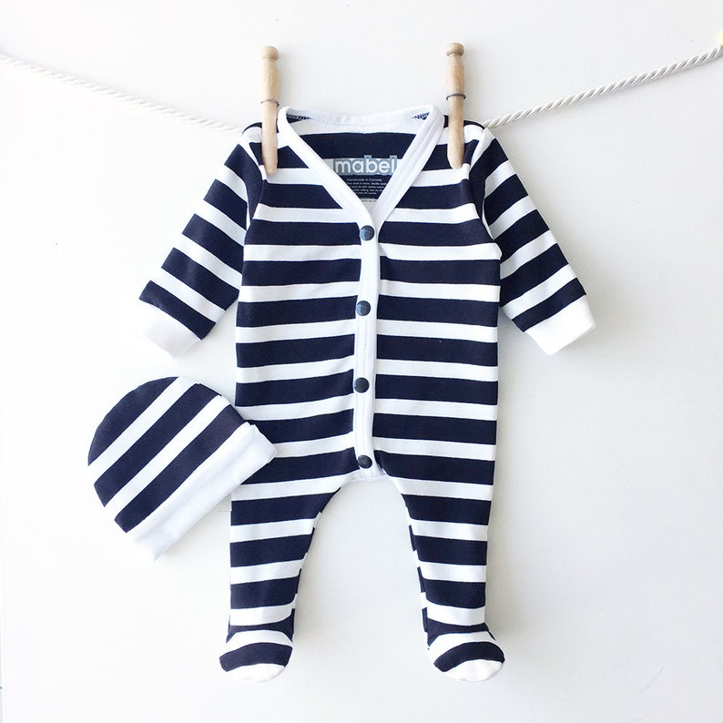 a56b0ffad Black and White Stripes Infant Sleeper Set Cute Baby Clothes