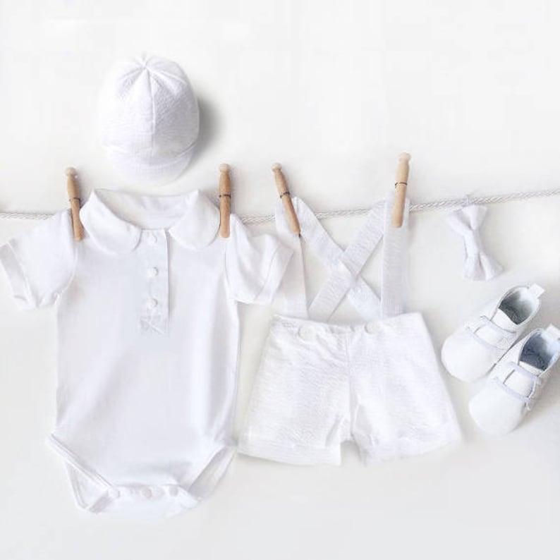4f8ac1c4f60a Baby Boy Christening Outfit 5 Piece Boys Baptism Set White