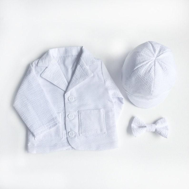 eee27e54f Baby Boy Baptism Coat White Seersucker Baptism Jacket