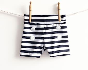 Baby Swim Trunks, Baby Boy Swimsuit, Swim Bottoms, Baby Swimwear, Baby Retro Swimsuit, Baby Retro Swimsuit, Black and White Stripe
