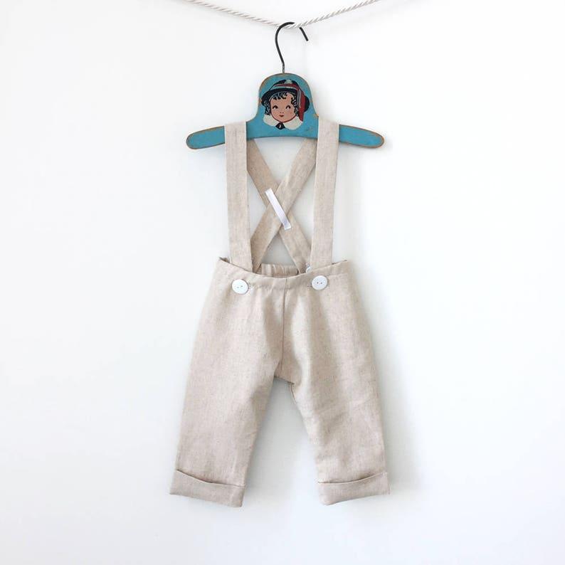 Linen Baptism Outfit Page Boy Outfit Baby Linen Trousers Boy Linen Pants Beach Wedding Toddler Pants Boy Suspender Pants Tan Linen