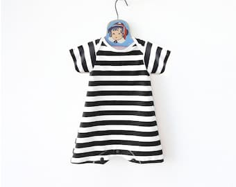 Retro Striped Baby Swimsuit, Baby Boy Swimwear, Toddler Bathing Suit, Baby One Piece Maillot, Swim Bodysuit, UV Protection, Boy Beachwear