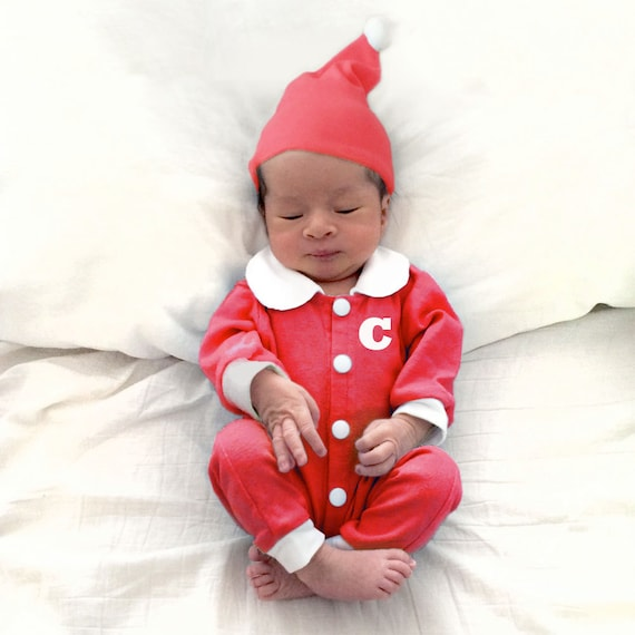 image 0 - Custom Christmas Baby Outfit Personalized Red Peter Pan Etsy