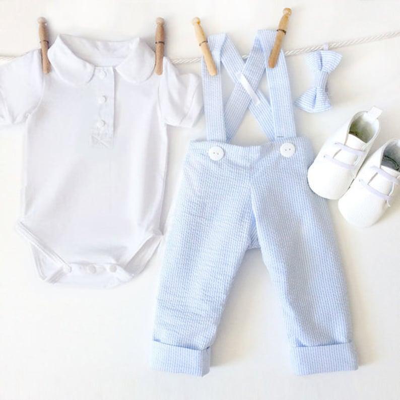 3fc8d21ecc380 Boys Clothing Set, Baby Boy Wedding Suit, Ring Bearer Outfit Suit, Page Boy  Suspender Pants, Toddler Ring Bearer, Blue Seersucker