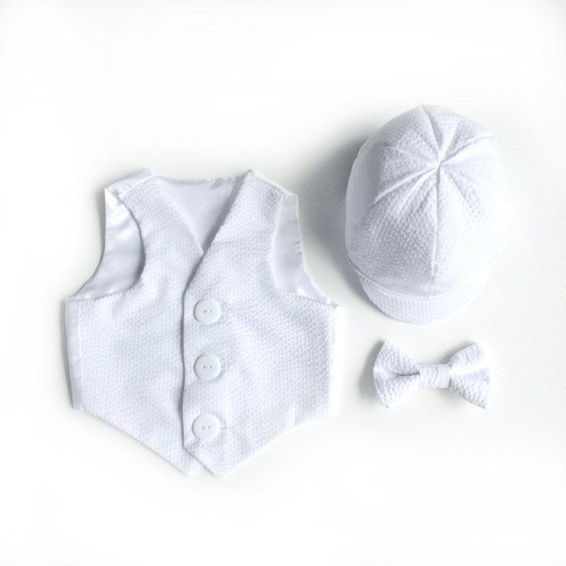 0c41bfa38588c White Seersucker Baby Boy Christening Vest Christening