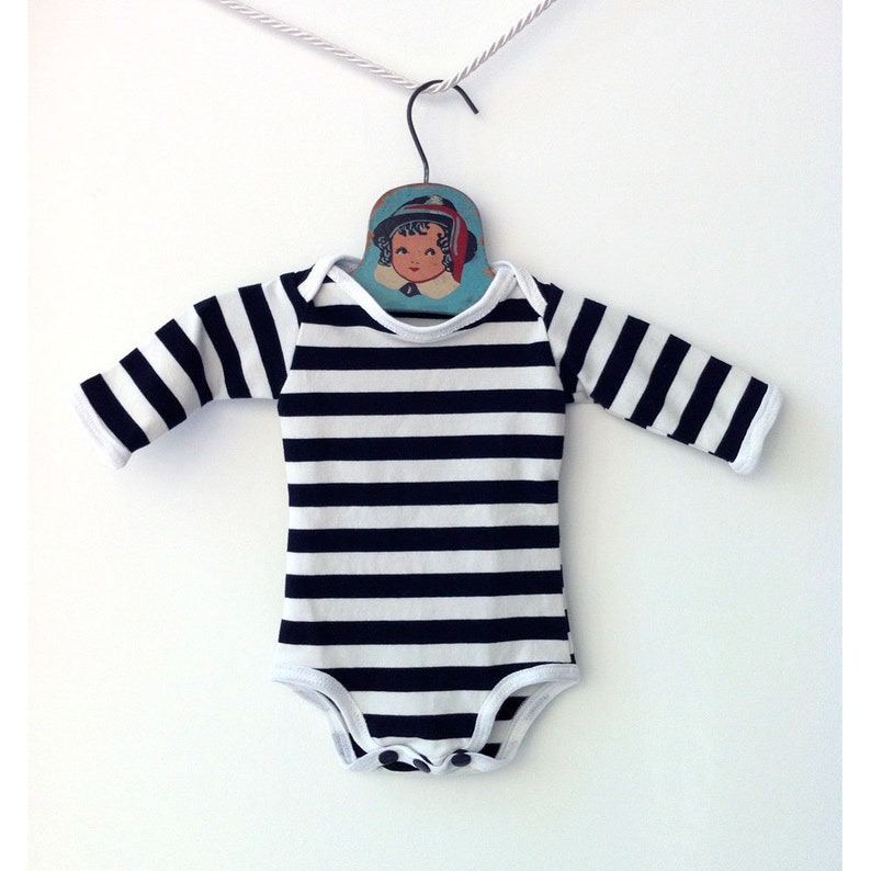 bfec7ffa2e23 Handmade Black and White Striped Bodysuit Cute Baby Clothes