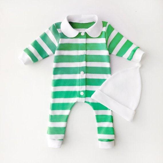 15a072563 Handmade Striped Green Pajamas Peter Pan Collar Christmas