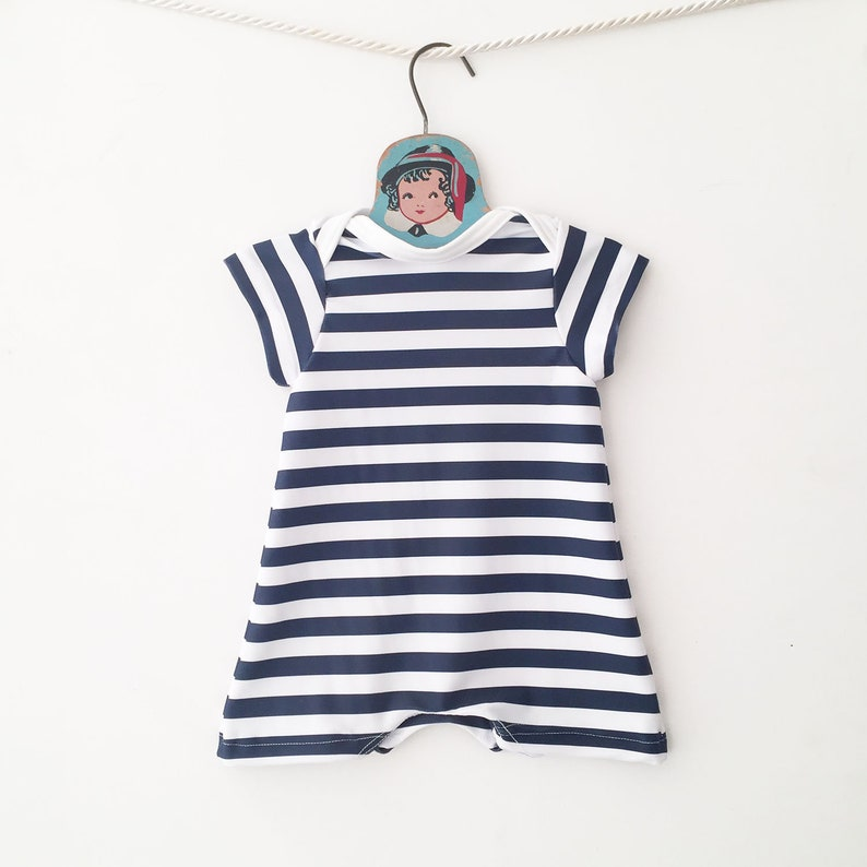 3ceb4705a465f Navy Blue Stripe Short Sleeve Swimming Suit Retro Striped | Etsy