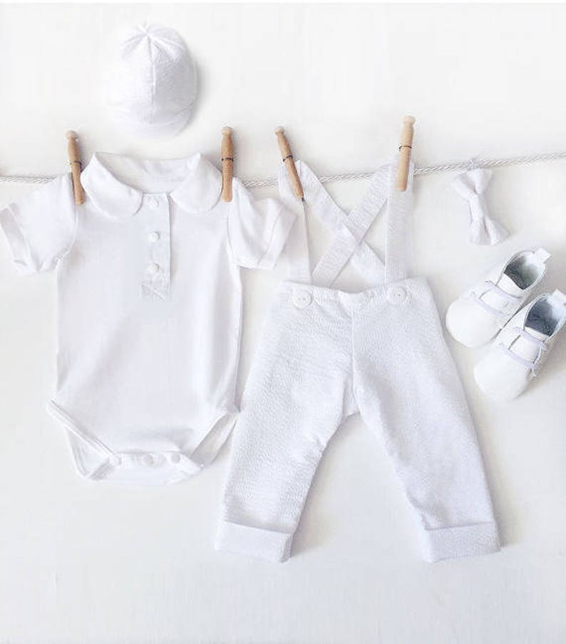 5 Piece White Baptism Outfit Long Sleeve with Hat Boys  89e63024452