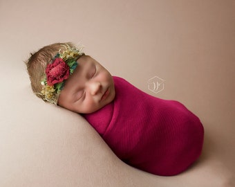 gift photography props baby girl wrap set baby holiday set newborn girl wrap bonnet set Newborn burgundy red photography set