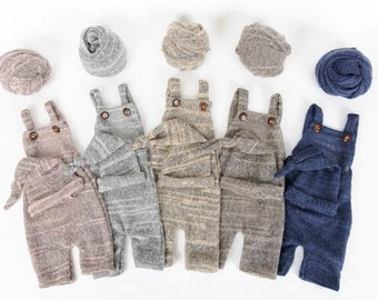 8b9a4668a Newborn Boy Overall Sleeper Set Outfit, Baby Overalls Hat, Handmade Baby  Boy Clothing, Sweater Knit Overalls, Newborn Baby Photography Props