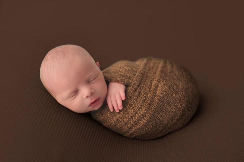 67b9e5564bc6 Brown Stretch Knit Swaddle Wrap Blanket Newborn Photo Prop