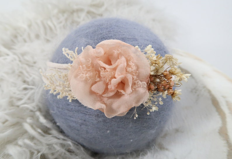 Girl Props Handmade Flower Petals Newborn Baby Headband Photography Prop Hair Accessory Adjustable First Birthday Christening Baptism Peach