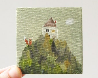 we built our house on a mountain / original painting on canvas