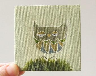 summer owl II / original painting on canvas
