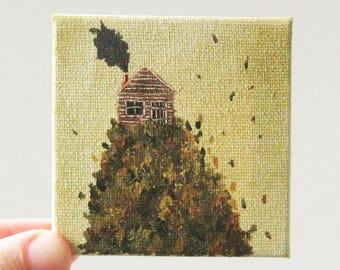 autumn cabin / original painting on canvas