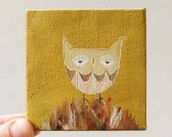 summer owl / original painting on canvas