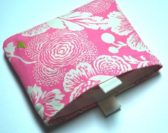 Pink Floral Cotton Sandwich Bag with Water-Resistant Liner
