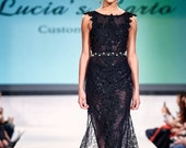 KENNEDY Crystal Beaded Black Lace Gown Formal Gothic Sleeveless Dress Long Train